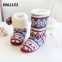 HALLUCI Рождество плюс бархатные женские домашние сапоги обувь Винтаж модные зимние утепленные шотландский стиль bota feminina hal luci 32825190735