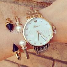 Модные женские Женева перламутровый циферблат женские золотые часы наручные часы No name 32328833926