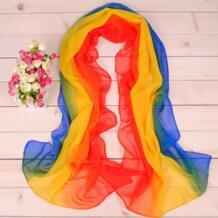 Для женщин сезон: весна–лето три Цвет с принтом радуги Шифон Защита от солнца шарфы мягкие шелковые шарфы No name 32808198928
