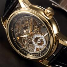 ORKINA часы мужские, кожаный скелет часы классические ретро Золотой корпус Relogio мужские Masculino Механические автоматические часы MG.ORKINA MG 32600267031