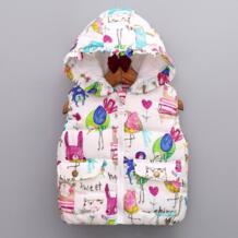 Детское зимнее пальто для девочек, куртки с рисунками животных, верхняя одежда с капюшоном и принтом граффити, пальто No name 32773187787