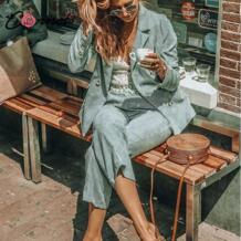 вельветовый Блейзер Пальто Комплект бизнес повседневное для женщин костюмы Винтаж двубортный на молнии брюки дамы 2 шт. блейзер CONMOTO 32916533024