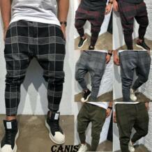 Мужские брюки карго, повседневные брюки карго для фитнеса, прямые брюки карго в клетку, 2019 Шаровары  - AliExpress NoEnName_Null 33004255230