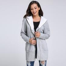 Осень-зима 2019, женские толстовки, теплые флисовые хлопковые пальто, верхняя одежда на молнии, толстовки с капюшоном, повседневные Длинные куртки, большие размеры ZANZEA 32464393926