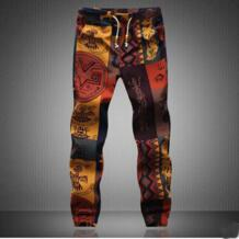 Новые брендовые летние Для мужчин брюки цветочный хлопок и лен брюки Повседневное Drawstring Для мужчин s тренировочные брюки Camo Jogger Plus 5XL # V0 No name 32627996342