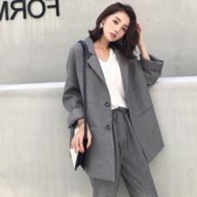Костюм женский 2019 осень новый темперамент Повседневный Свободный Длинный Костюмный пиджак брюки однотонные Элегантная мода двухсекционный комплект Low Luv 32913731464