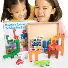 Животные строительные блоки Jigsaw Монтессори творческий с мультипликационным рисунком доска детские деревянные блок обучения детей развивающие красочные игрушки No name 32994290291