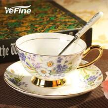 Yefine керамики день Чёрный чай Чашки и блюдца Европейский Стиль костяного фарфора Кофе Чашки и блюдца Набор ложек и поварёшек Посуда для напитков комплект подарки No name 32635930001