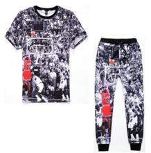 2015 Harajuku Иордания dunk Печати 3d майка + бегунов мужчины/женщина Случайные штаны хип-хоп костюм плюс размер S-XXL Бесплатная доставка PLstar Cosmos 32373267276