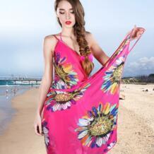Лето 2016 Для женщин Пляж Cover Up Леди тонкий сексуальный купальник Cover Ups спинки печати солнцезащитный крем Саида de Praia крышку ИБП fh_001 No name 32653925869