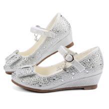 Для Девочек Цвет серебристый, золотой вечерние свадебные туфли принцессы обувь Кожа блеск кристаллов Стразы Клин бабочка узел обувь для детей MudiPanda 32859130346