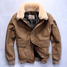 Фабрика 2016 Новая мужская куртка из натуральной кожи с меховым воротником из натуральной коровьей кожи, кожаная куртка-бомбер, европейские размеры, зимние пальто NOBLE DUKE 32716518193