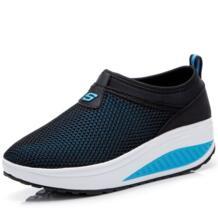 2018 Новый стиль Для женщин качели Фитнес Прогулки Кроссовки Дамская обувь на клиновидной платформе летняя сетчатая дышащая обувь без шнуровки No name 32871995560