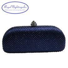 Elegante темно-синий кристалл коробка клатч и кошельки со стразами вечерние сумки Royal Nightingales 32747480800