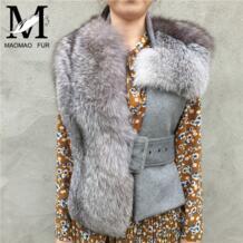 2017 новая мода женская Настоящая шаль из лисьего меха женская шерсть тонкий женский жилет из натурального Лисьего меха накидка весна натуральный мех жилет MAOMAO FUR M 32807630659
