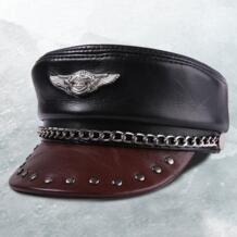 Кожа из натуральной кожи Германии военная шляпа мужчин на осень-зиму красивые мотоциклетные Harley локомотив Крышка 55-60 см Черный Красный S489 BooLawDee 32848323711