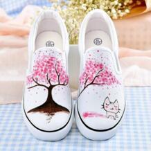 Новое предложение, криперы Rihanna, женская обувь, Раскрашенные вручную, обувь принцессы, Сказочная обувь для девочек, белая парусиновая обувь на осень E-LOV 32802415666