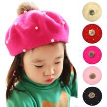 Детские помпоны берет однотонная шляпа панамка с жемчужиной для девочек Зимняя шерстяная одежда малярные шляпы для 3-6 лет детская шапочка аксессуары FAITOLAGI 32850823044