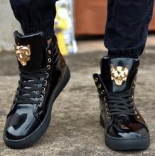 2018 Модная высокая повседневная обувь для Для мужчин из искусственной кожи Кружево до красный, черный и белый Цвет Повседневная Мужская обувь Для мужчин высокие Обувь розничная продажа BabeBcBd 32642473690