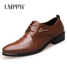 Большие размеры 38-46; Модные Мужские модельные туфли; повседневные мужские туфли с острым носком на шнуровке в деловом стиле; коричнево-черная кожа; оксфорды; 2A LMPPW 32809445715