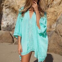 Лидер продаж летний Стиль Женщины Cover Ups Sexy Глубокий v-образным вырезом купальник прикрыть бикини пляж прикрыть синий свободные пляжная одежда YCDKK 32807966382