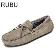 Лидер продаж Мужская обувь большой размер 38–45 кожа Для мужчин для вождения Обувь на теплом меху коричневый Лоферы для женщин 2017 зима Мужская обувь/10 No name 32838104264
