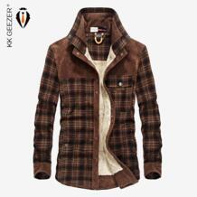 Фланелевая рубашка мужская Военная клетчатая Зимняя Теплая Флисовая Толстая куртка 100% хлопок высокое качество Карманные Рубашки с длинным рукавом дропшиппинг KK GEEZER 32581206679
