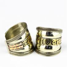 R093 Тибетские мантры кольцо для мужчин шесть слов амулеты Медь Открытое кольцо Ом Мани площадку меня гул No name 544723231