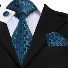 C-534 Модные синие зеленые градиентные мужские галстуки s галстуки шеи жаккард с геометрическим узором шелковые галстуки для мужчин костюмы 8,5 см мягкие Corbatas Hi-Tie 32344711281