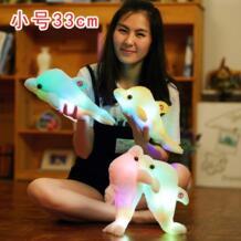 33 см красочная светодиодная Подушка с животными, милая маленькая чучело дельфина, плюшевая фигурка животного, игрушка для девочек, подарок на день рождения для детей No name 32905133436
