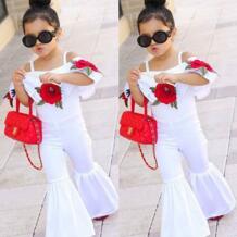 модным цветочным узором одежда для малышей для девочек Комбинезон клеш Детские комбинезоны наряд симпатичная одежда От 1 до 6 лет pudcoco 32838283555