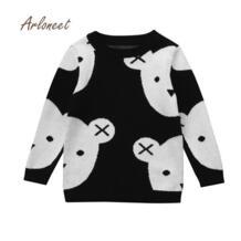 2017 новая зимняя одежда для маленьких девочек, одежда для маленьких мальчиков и девочек, вязаный свитер с принтом медведя, кардиган, Теплые Топы, nov1 ARLONEET 32838073616