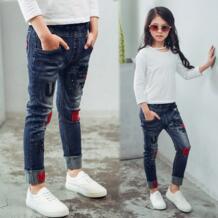 Детские джинсы для девочек; коллекция 2019 года; сезон весна-осень; детские штаны с вышивкой и надписью; повседневные брюки для девочек dangdangshu 32800126923