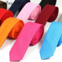 Повседневный модный новый мужской галстук Одноцветный льняной хлопчатобумажный галстук 5 см ширина облегающий узкий галстук для вечерние галстуки Красный Розовый 10 цветов Gemay G.M 32515376151