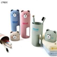 CTREE Новый Зубная щётка чашки Портативный дорожный набор коробка для хранения дома медведя Организатор зубная паста зубная щетка Полотенца мыть полоскание чашка C133 No name 32848197842