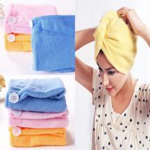Абсорбент микрофибры Полотенца тюрбан волос сушки быстросохнущая Шапочки для душа халат шляпу волосы обертывания для Для женщин разные цвета 21*51 см No name 32849082394