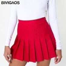 весна лето Модные женские сексуальные винтажные Обтягивающие юбки с высокой талией Короткая складчатая юбка мини-юбки женские Одежда BIVIGAOS 32300634391
