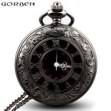 Ретро черный стимпанк римские цифры карманные часы мужские цепи ожерелье кулон Подарки для женщин полый Скелет кварцевые карманные часы Gorben 32250316930