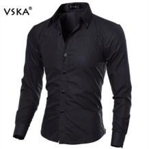 Лидер продаж Мода Для мужчин рубашка с длинными рукавами Для мужчин элегантный Стиль Slim Fit Марка Повседневное Мужская рубашка camisa masculina VSKA 32611195997
