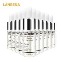 К 24 К золото шесть пептидов сыворотка крем для лица против старения морщин Лифт фирма Отбеливание Увлажняющий Лечение Акне 10 шт. LANBENA 32854736320