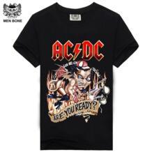 Rocksir Мужская футболка Черная футболка s Мужская s рубашка хлопок AC DC принт хэви-метал, рок хип хоп панк 2016 летняя футболка Men bone 32347400414