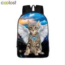 Kawaii Cat с черный белый Ангел крыла рюкзак детей школьные сумки подросток рюкзаки девушки котенок дорожные сумки студент сумки COOLOST 32512258390