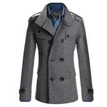 Модная мужская двубортная зимняя тонкая теплая куртка Стильный Тренч Верхняя одежда SANWOOD 32796734409