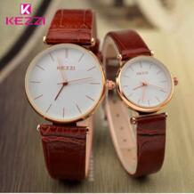 KEZZI Марка Водонепроницаемый пары Часы Для женщин Японии двигаться Для мужчин t аналоговый кварцевые часы кожаный ремешок Для мужчин Часы Любители часы No name 32240265547
