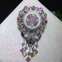 Натуральный многоцветный Турмалин брошь S925 серебра, природных драгоценных камней брошь кулон Роскошные Ретро кисточки женские два носит украшений No name 32818516682