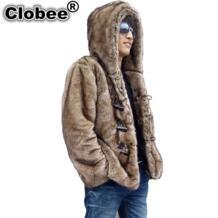 2019 зимние мужские пальто из искусственного меха норки с капюшоном из искусственного меха Мужская Верхняя одежда с роговыми пуговицами 2018 Большие размеры Меховая куртка 4XL 5XL Clobee 32788484347