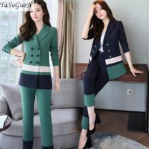 Новинка 2018 г. Весна офисные женские туфли стиль мода зеленый и синий тонкий контрастный цвет fit двубортный костюм для женщин tailleur femme TXF4 YaSuGuoJi 32851944557