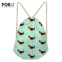 /сумка на шнурке для женщин, сумка для путешествий, Beagles, маленькие рюкзаки для собак, Mochilas, пыленепроницаемые сумки для хранения обуви FORUDESIGNS 32871008400