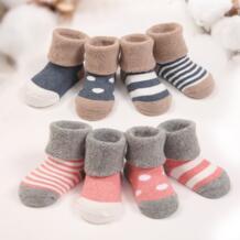 4 пар/лот теплые Зимние носки для детей Симпатичные мягкие осень Носки для новорожденных мальчиков и девочек в полоску и горошек детская мягкая обувь для новорожденного мальчика носки Raise Young 32776990941
