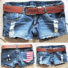 Горячая распродажа лето 2016 новое поступление модные женские джинсовые шорты отверстия Америка Флаг укороченные джинсы женские Девушки без ремня SV003071 No name 32334034278